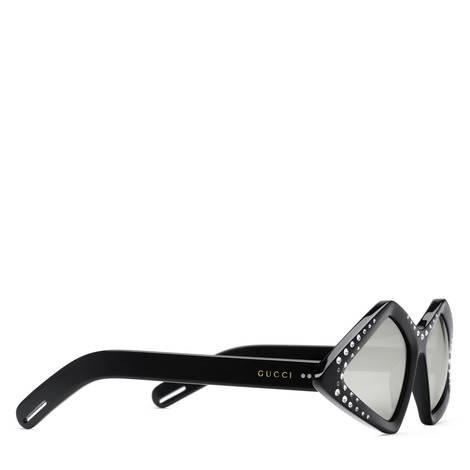 饰水晶钻石形镜框太阳眼镜