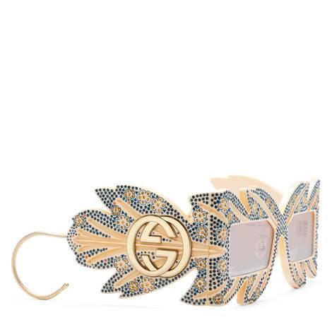 限量版水晶装饰遮面太阳眼镜