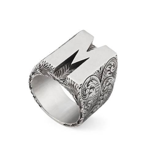 """字母""""M""""造型纯银戒指"""