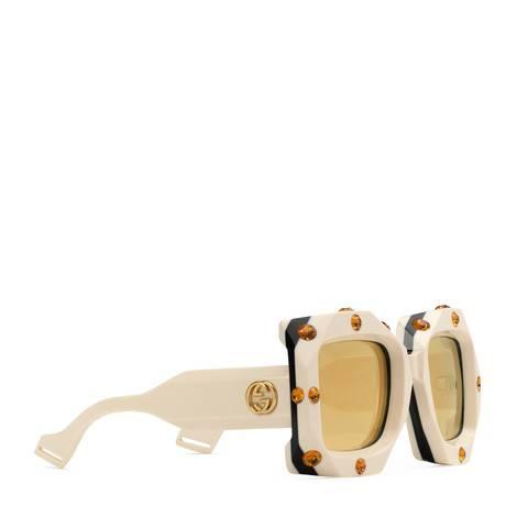 超大号水晶装饰方形镜框太阳眼镜