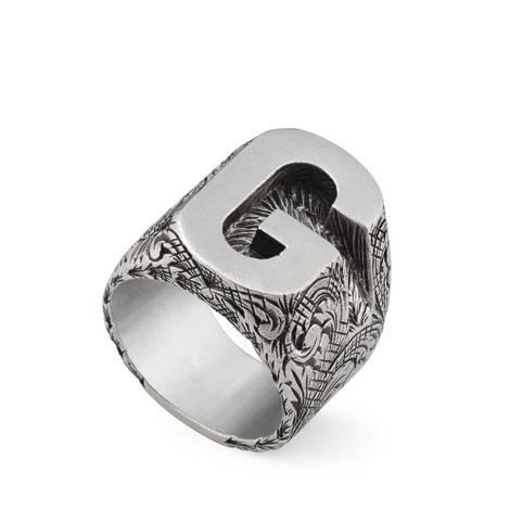 """字母""""G""""造型纯银戒指"""