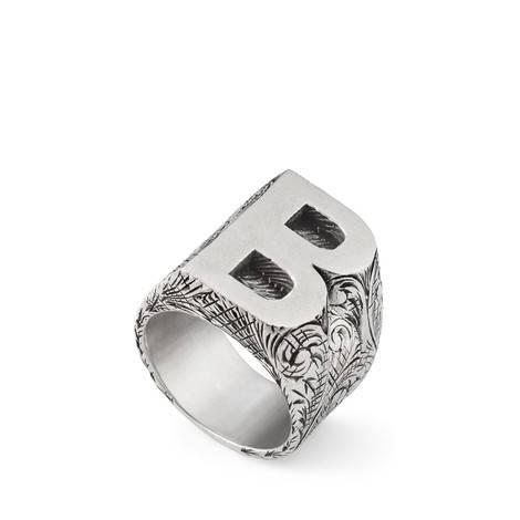 """字母""""B""""造型纯银戒指"""