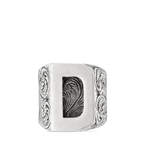 """字母""""D""""造型纯银戒指"""