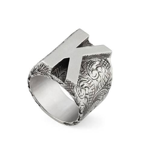 """字母""""K""""造型纯银戒指"""