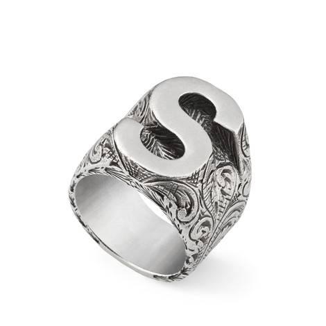 """字母""""S""""造型纯银戒指"""