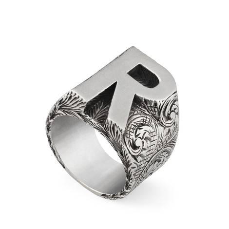 """字母""""R""""造型纯银戒指"""