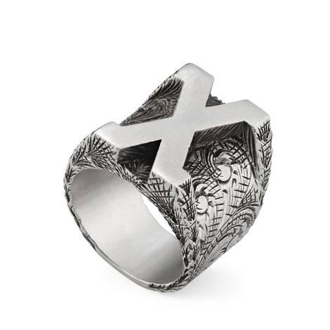 """字母""""X""""造型纯银戒指"""