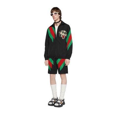 条纹织带嵌花尼龙短裤