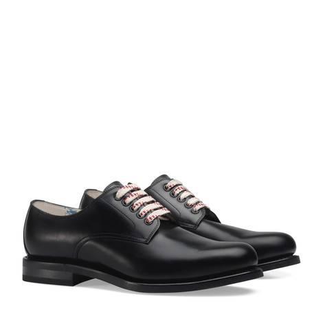 黑色皮革系带鞋