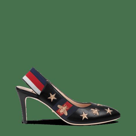 刺绣皮革织带后系带浅口鞋