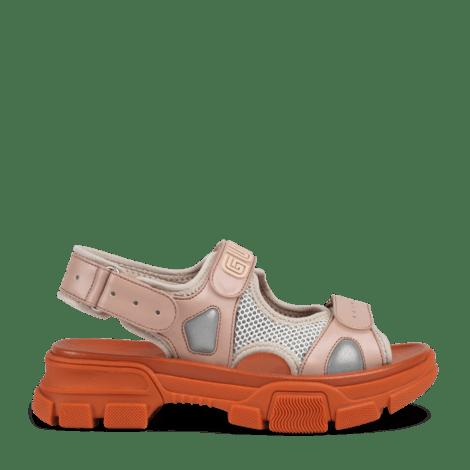 皮革网纱凉鞋