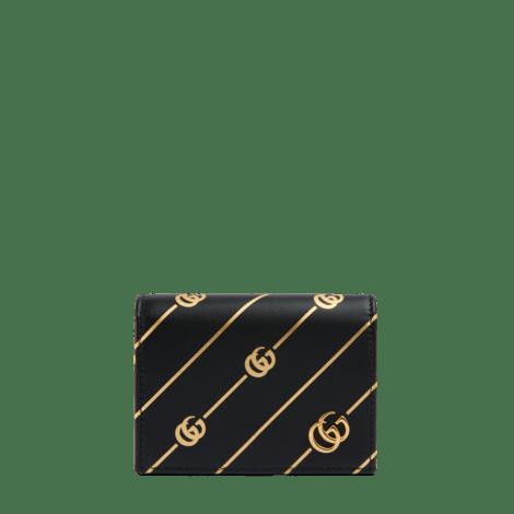 饰双G条纹皮革卡包