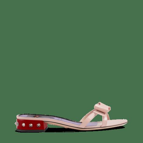 蝴蝶结漆皮拖鞋