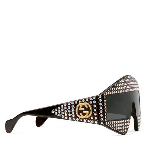 饰水晶方形镜框太阳眼镜