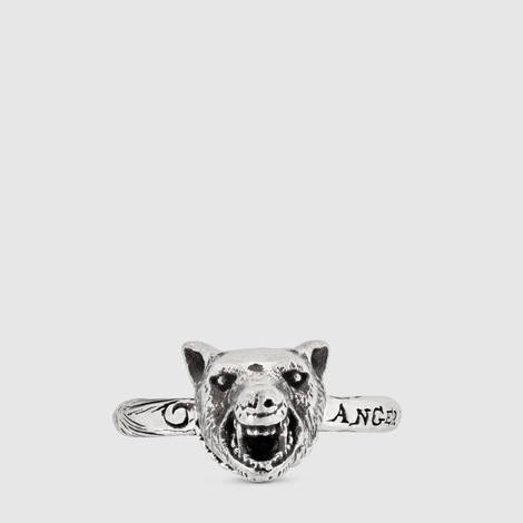 Anger Forest系列狼头纯银戒指