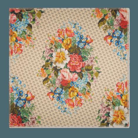 Gucci印章和花朵印花莫代尔真丝混纺披肩