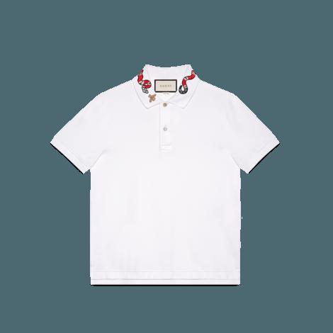 蛇形刺绣纯棉polo衫