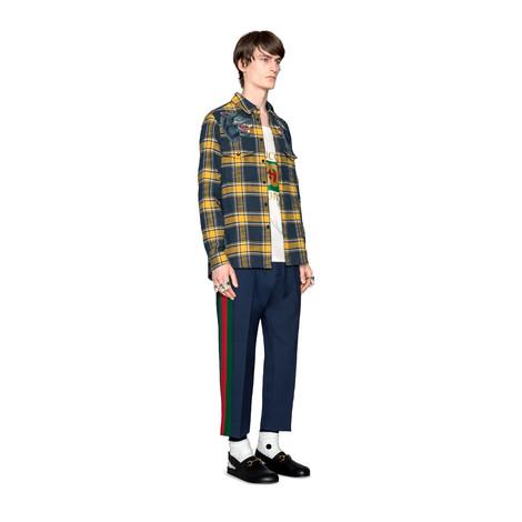 条纹羊毛七分裤
