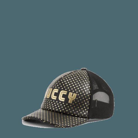 Guccy印花皮革棒球帽