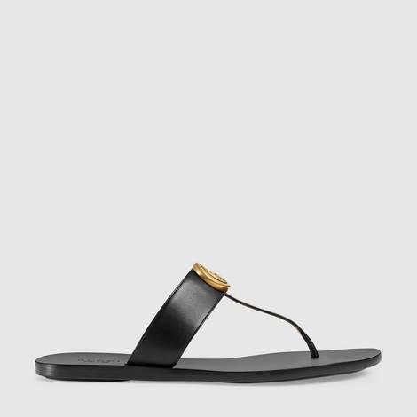 双G造型皮革夹趾凉鞋