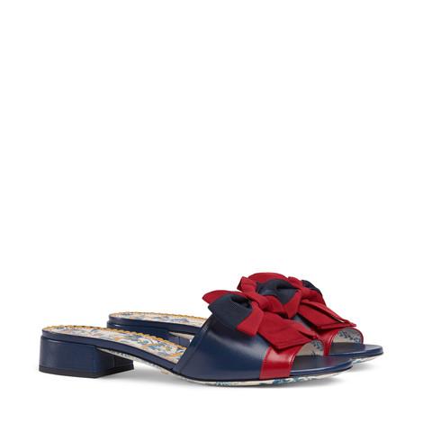 织带蝴蝶结皮革便鞋