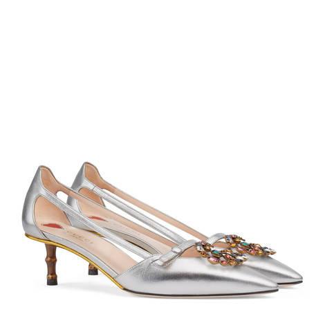水晶双G金属质感皮革高跟鞋