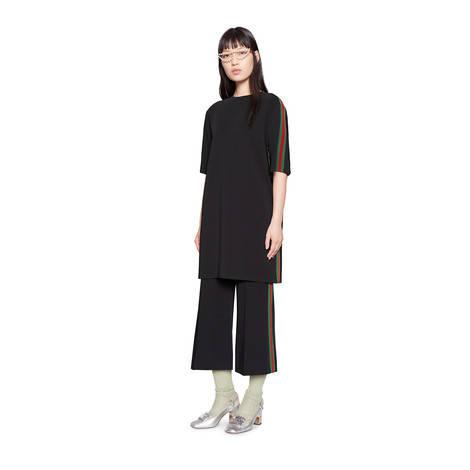 饰条纹织带弹力人造丝连衣裙