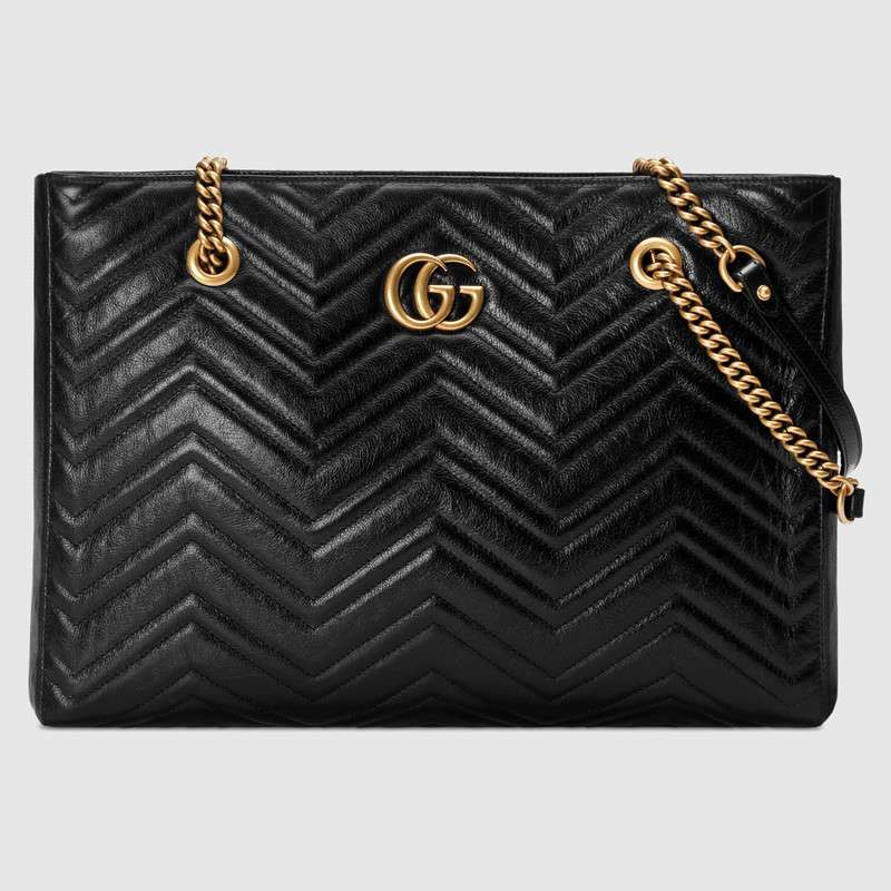 db4ad36342401d Gucci Gg Marmont MatelassÉ Medium Tote In Black MatelassÉ Leather