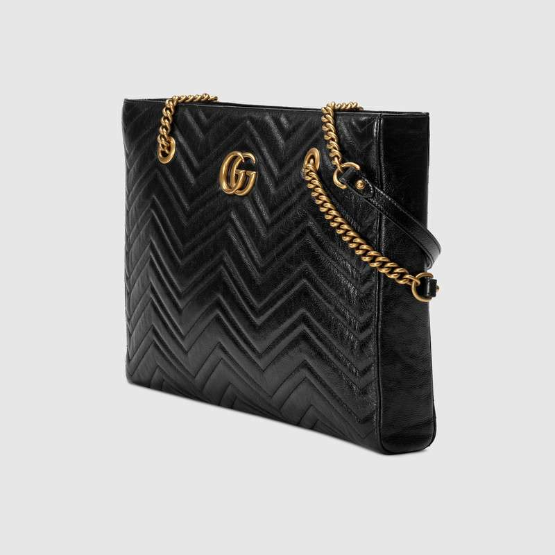 7a73408d6f70 Gucci Gg Marmont 2.0 Matelasse Medium Leather East/West Tote Bag - Black
