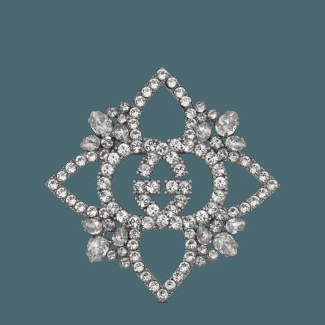 水晶互扣式G花朵胸针