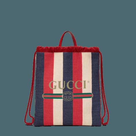 Gucci印花中号抽绳背包