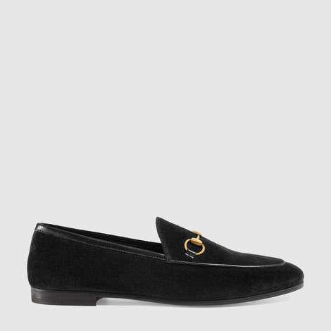 Gucci Jordaan系列天鹅绒乐福鞋