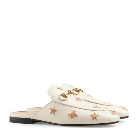 Princetown系列刺绣皮革拖鞋