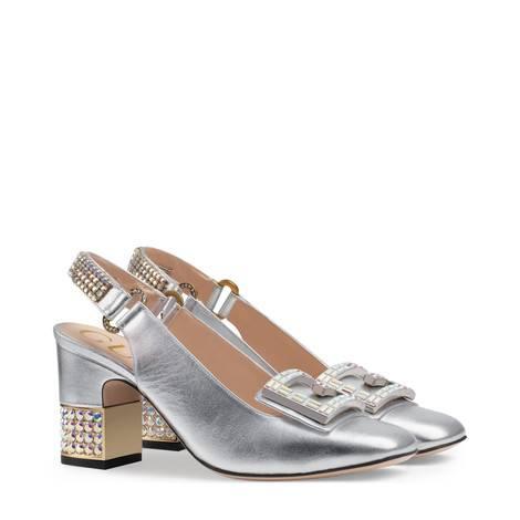 水晶G皮革中跟后系带浅口鞋