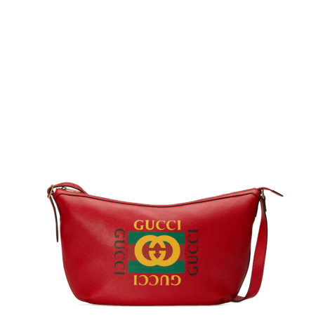 Gucci印花半月形圆底包