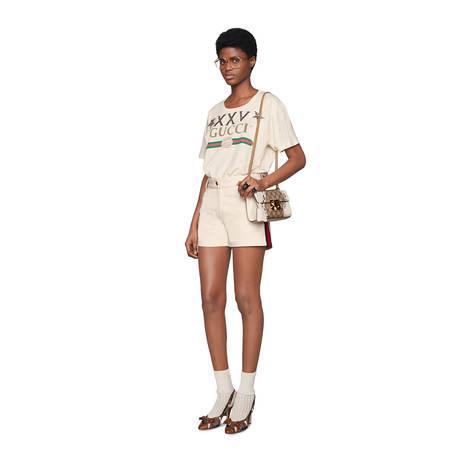 条纹织带棉短裤