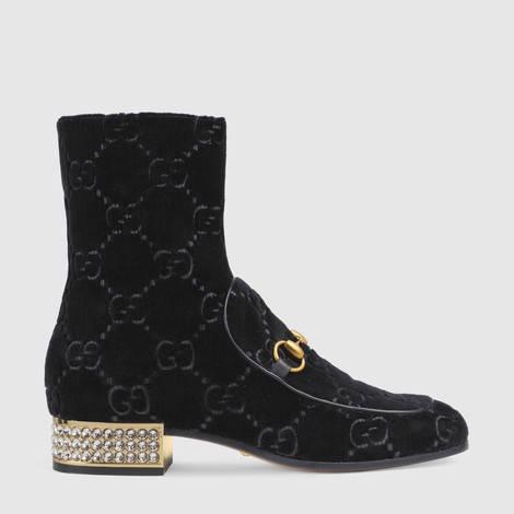 水晶马衔扣GG天鹅绒踝靴