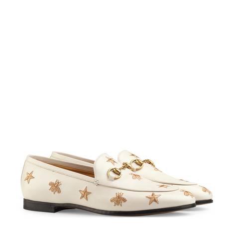 Gucci Jordaan系列刺绣皮革乐福鞋