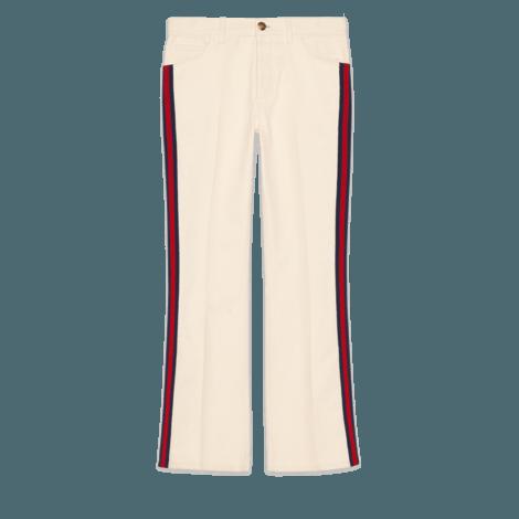 条纹织带喇叭牛仔裤