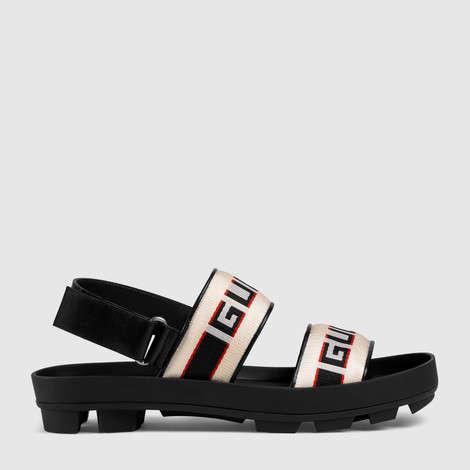 Gucci条纹凉鞋