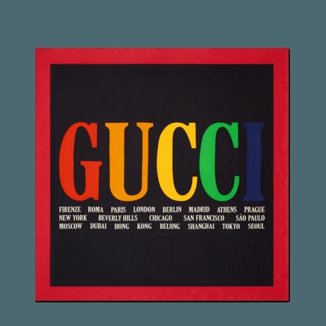 Gucci城市印花真丝围巾