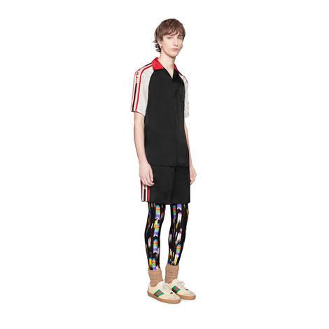 Gucci条纹醋纤保龄球衫