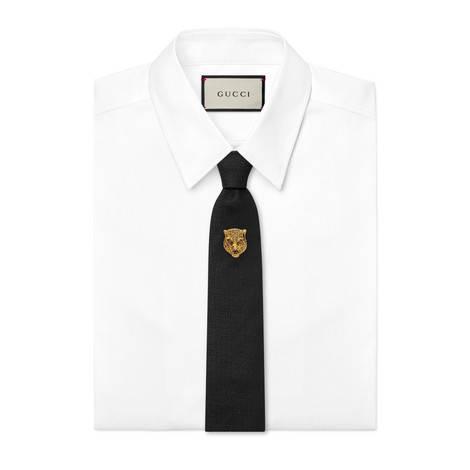 扭结下虎头真丝羊毛混纺领带