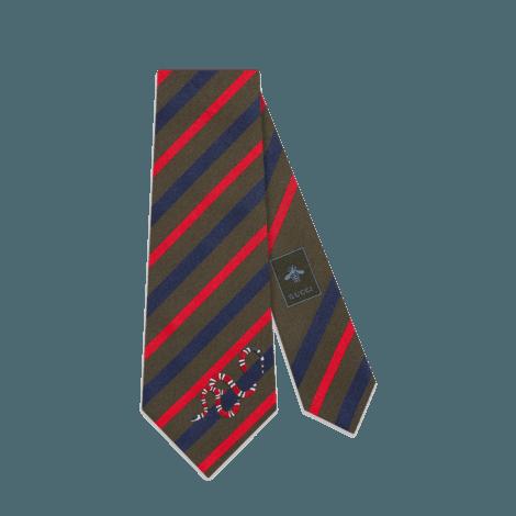 饰珊瑚蛇条纹真丝领带