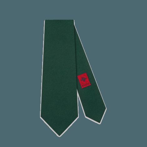 扭结下学院风G图案羊毛真丝混纺领带
