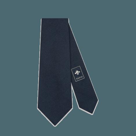 扭结下豹头真丝羊毛混纺领带