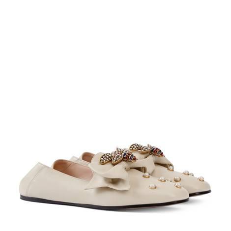 蝴蝶结皮革平底芭蕾舞鞋