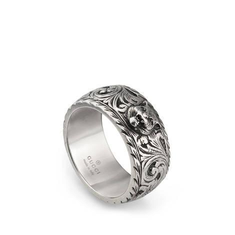 虎头窄边银戒指
