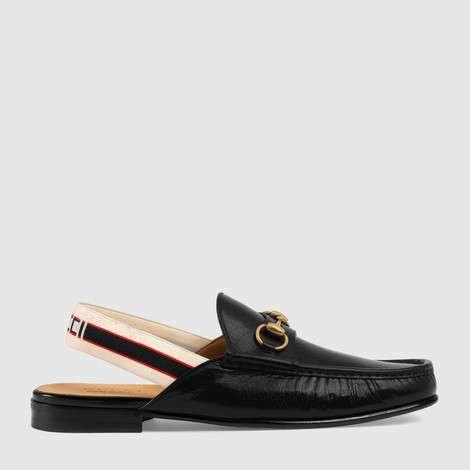 马衔扣Gucci条纹后系带便鞋