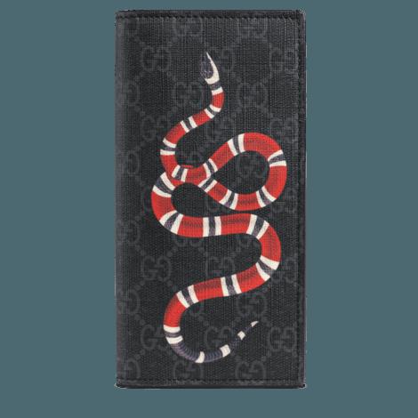 珊瑚蛇印花高级人造帆布长款钱包
